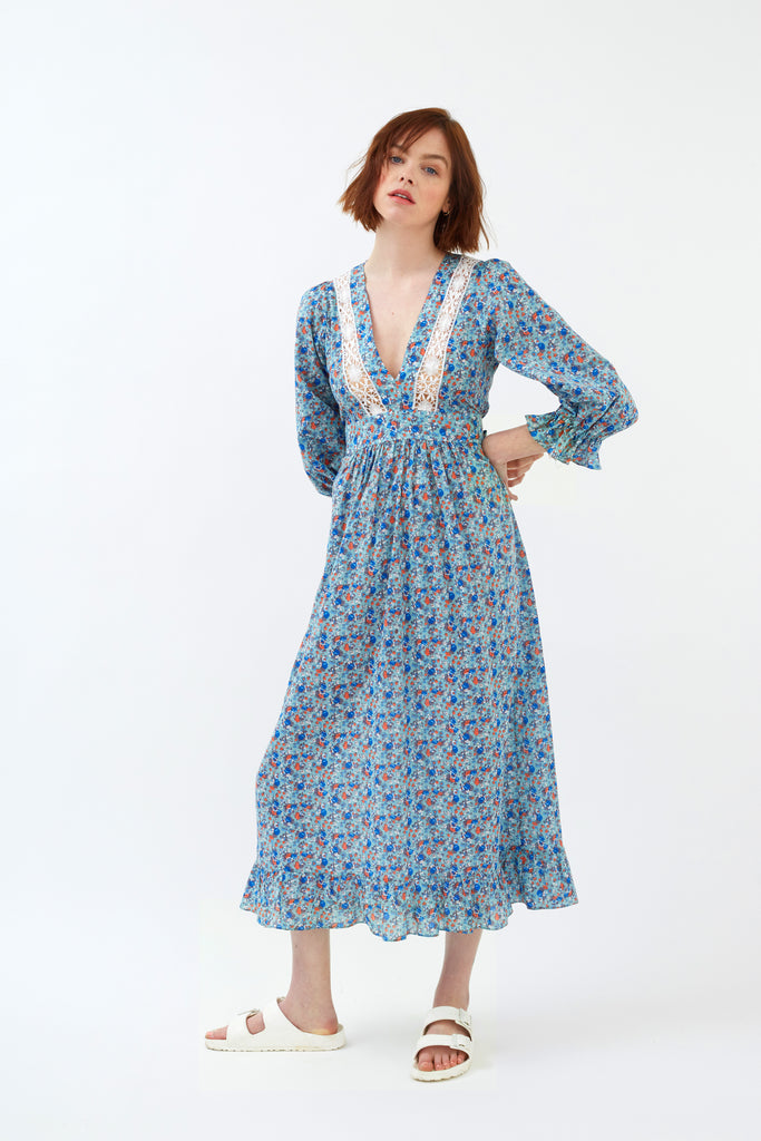 Aqua Prairie Floral Cotton London Fields Dress