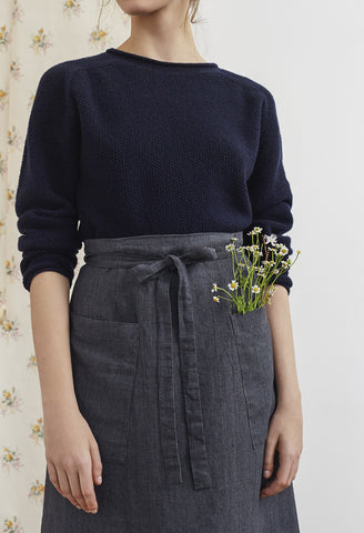 Grey Linen Lavender Hill Apron Skirt