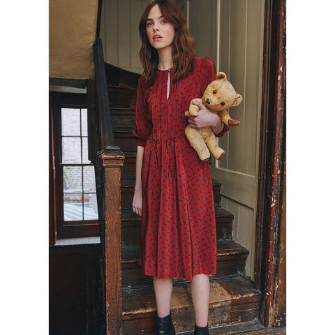 Dalston Red Silk Printed Dress