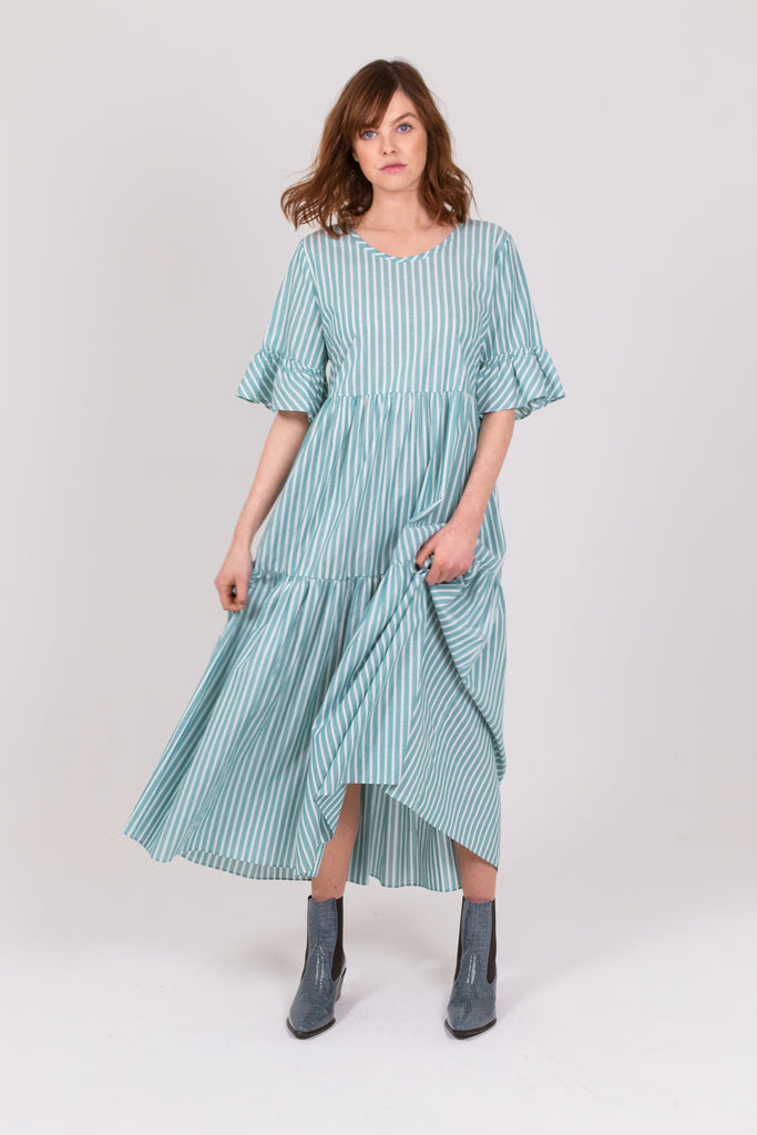 Mint Stripe Cotton Primrose Hill Dress
