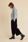 Navy Corduroy Brighton Crop Trouser