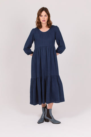 Mariner Navy Linen Petticoat Lane Dress