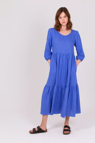 Wedgewood Blue Linen Petticoat Lane Dress