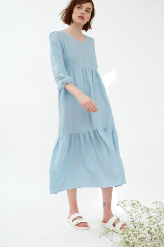 Duck Egg Linen Petticoat Lane Dress
