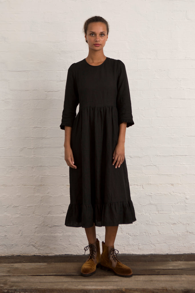 Charcoal Linen Somerset Prairie Dress