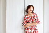 Red Rose Linen Cotton Poets Road Dress