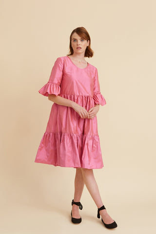 Rose Pink Silk Primrose Party Dress