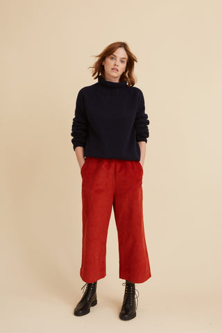 Rust Corduroy Brighton Crop Trouser