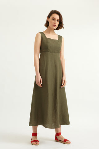 Khaki Linen Holland Park Dress