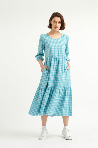 Aqua Gingham Linen Petticoat Lane Dress
