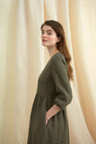 Khaki Linen Petticoat Lane Dress