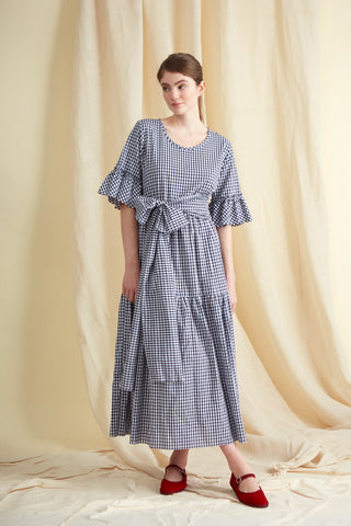 Navy Gingham Cotton Primrose Hill Dress