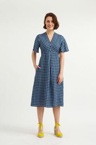 Blue Linen Gingham Rye Dress