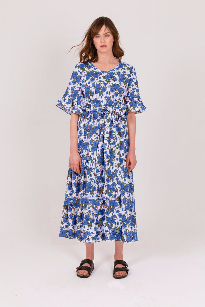 Blue Rose Linen Cotton Poets Road Dress