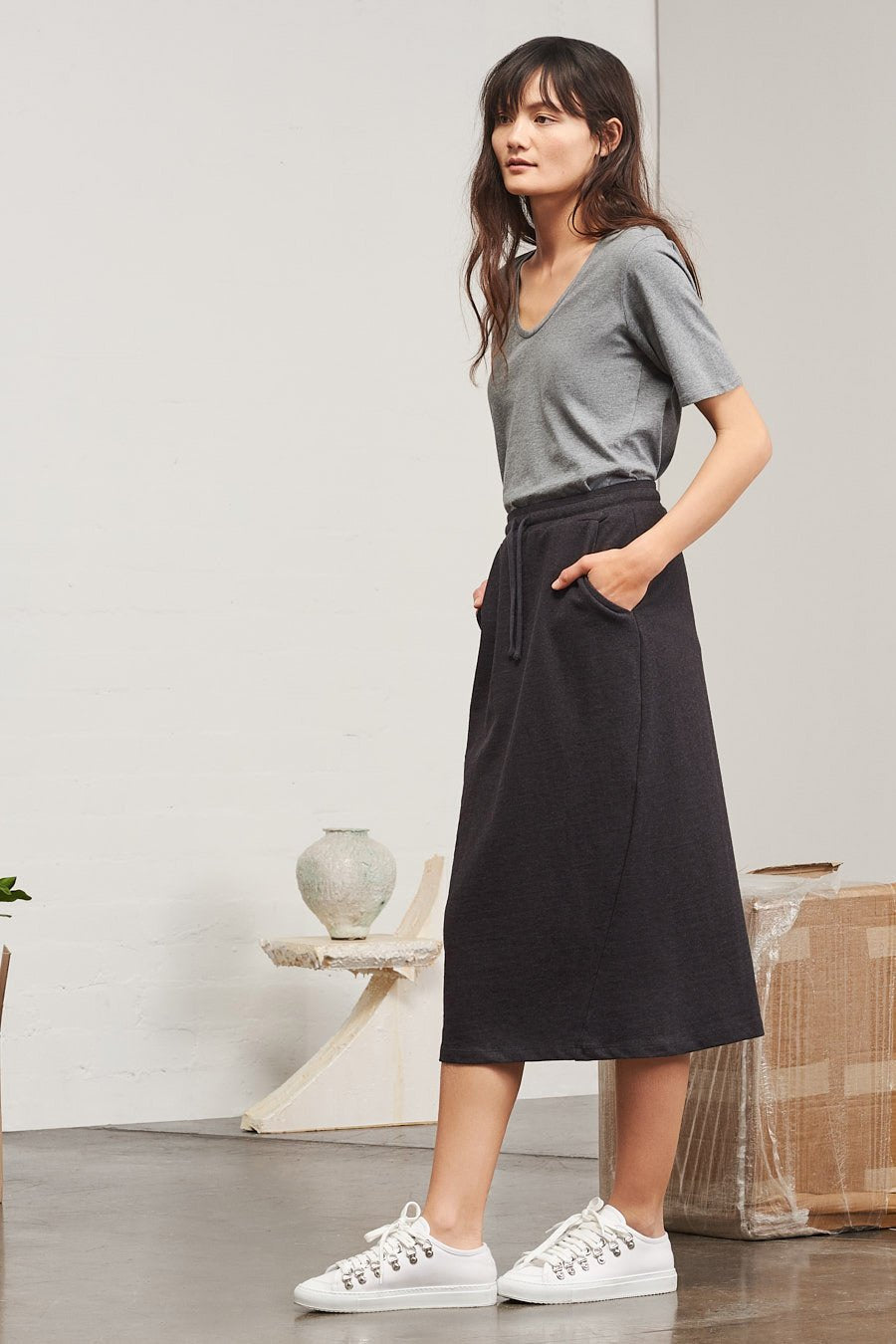 Building Block Skirt Black Marle - WE DASH LOVE