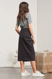 Building Block Skirt Black Marle - WE DASH LOVE kowtow winter fashion midi skirt heavy weight ethical organic cotton twill sustainable clothing fairtrade