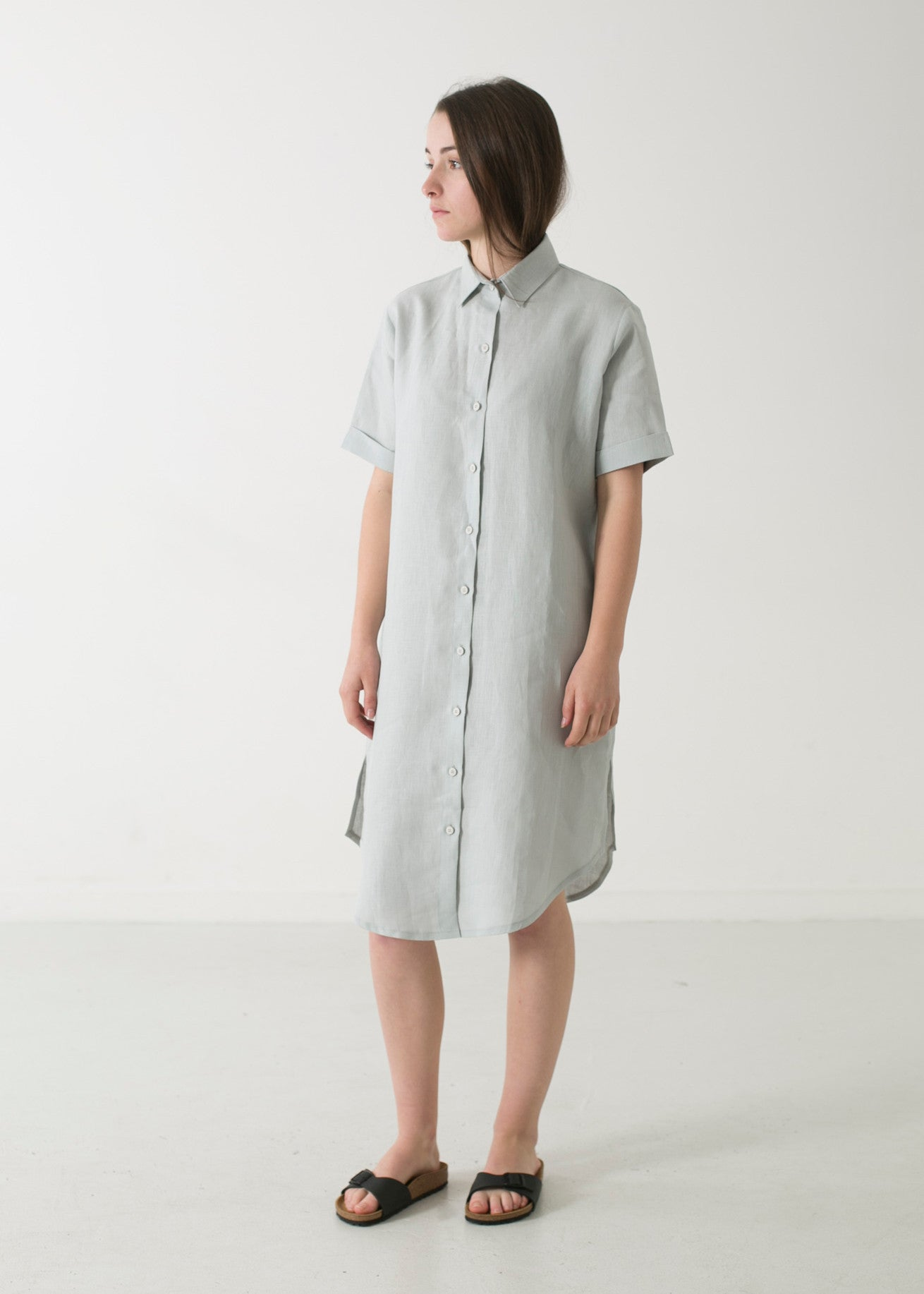 Classic Collar Short Sleeve Shirt Dress - WE DASH LOVE
