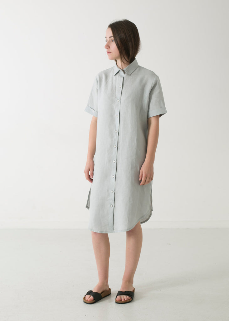 Classic Collar Short Sleeve Shirt Dress