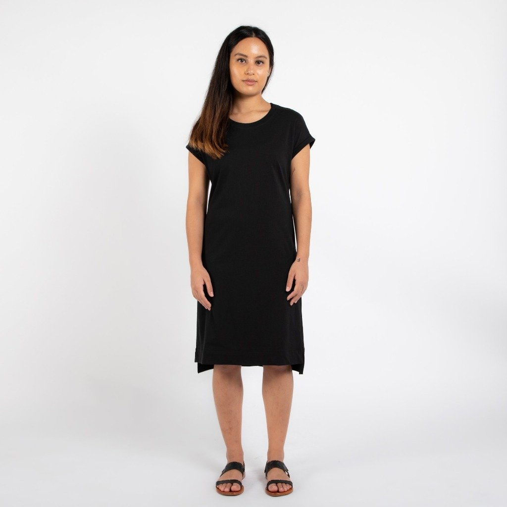 Rolled Sleeve T-shirt Dress  | Black