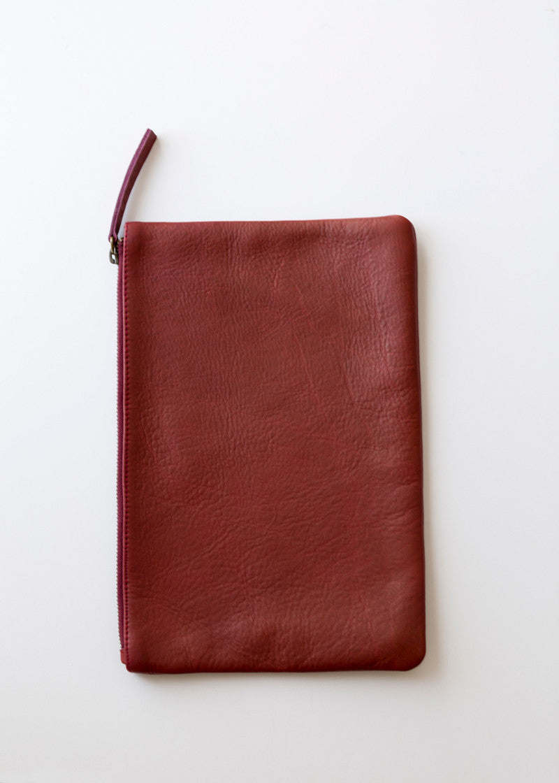 Straw Clutch Burgundy
