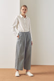 kowtow we dash love we-love studio pants pin stripe organic cotton minimalist transparent fashion wide leg pants cropped pants ethically made