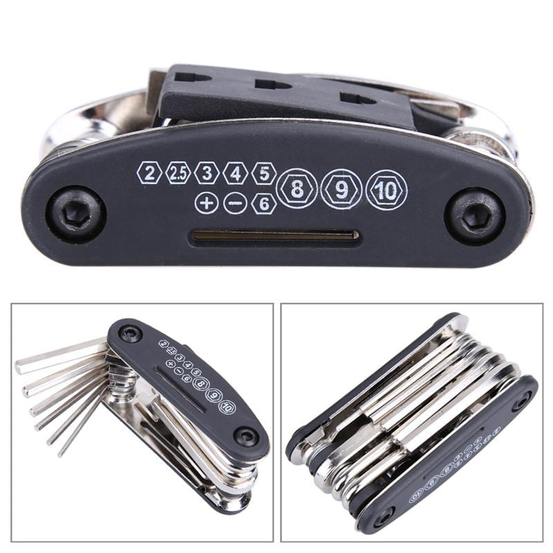 15 in 1 Bicycle Wrench Black Multi Repair Tool Set Mountain Bike Hex Spoke Cycling Screwdriver Bicycle Accessories