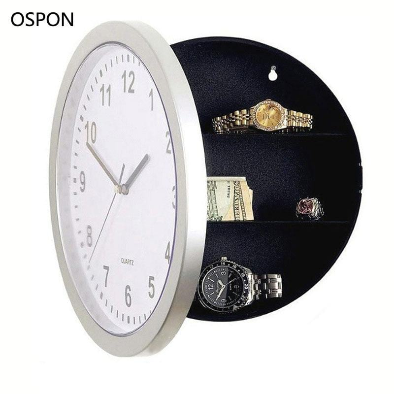 Ospon Wall Clock Safe Box Creative Hidden Secret Storage Box For