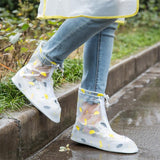 Reusable Rain Shoes Cover Adult Children Thicken Waterproof Boots Cycle Rain Printing Flat Slip-resistant Overshoes