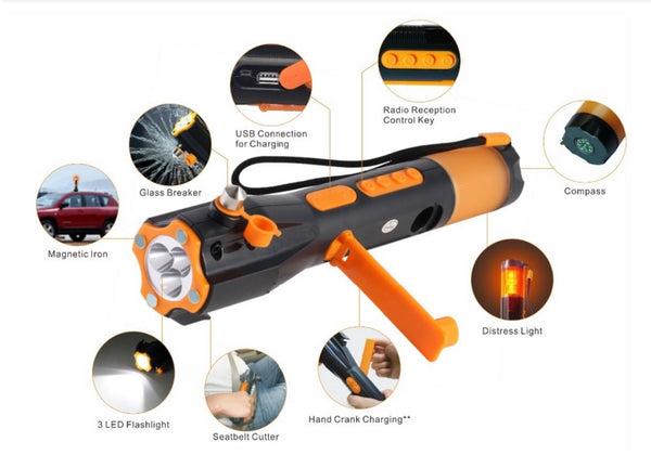 [Seven Neon]water proof emergency torch+hammer in car/9 in 1/alarm for emergence/AM/FM/belt cutter/bright camping light tourch | Prepper Profi und  Krisenvorsorge