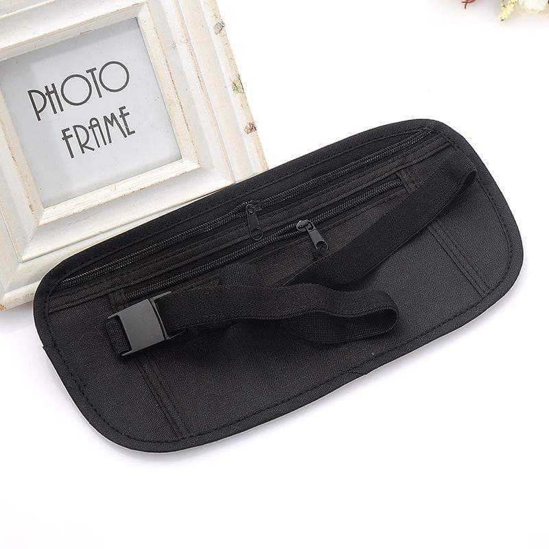 Travel Pouch Bag Hidden Compact Security Money Zippered Waist Belt Holder Pocket