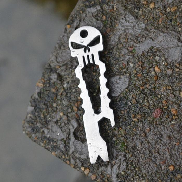 camping survival Multifunction tool Outdoor Stainless Skull EDC Survival Pocket Tool Key Ring Opener Multi tool Survival kit
