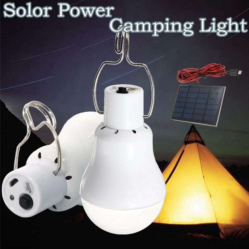 Portable Solar Panel Powered LED Solar Light Bulb Outdoor Lighting Camping Hiking Tent Fishing Lamp