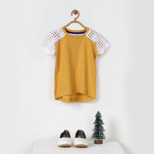 Yellow Melange Tee with Lace Sleeves