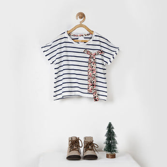 White & Blue Striped Tee with Printed Bow