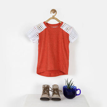 Orange Melange Tee with Lace Sleeves