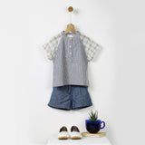 Blue & Off-White Striped Soft Raglan Sleeve Kurta Top
