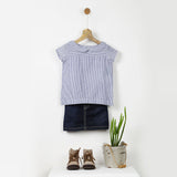 White & Blue Striped Peter Pan Collar Shirt