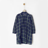 Navy Checks Shirt Dress with Pockets