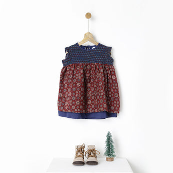 Maroon & Indigo Back Tie Ajrakh Handprint Dress