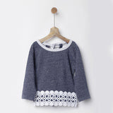 Navy Galaxy Sweatshirt with Lace Hem