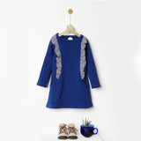 Warm Blue Fleece Ruffle Dress with Pockets
