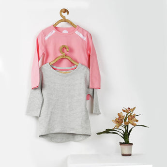 Set of Two Tees - Peach with Lace & Grey