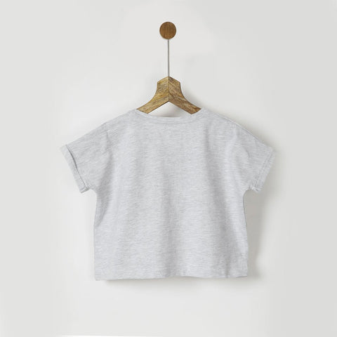 Grey Short Sleeves Tee with Bow
