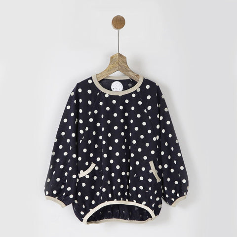 Navy Polka Dots Balloon Tee with Pockets
