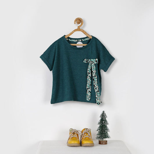 Teal Loose Fit Tee with Bow Detail