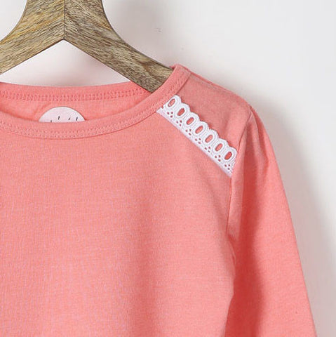 Set of Two Tees - Peach & Yellow with Lace Details