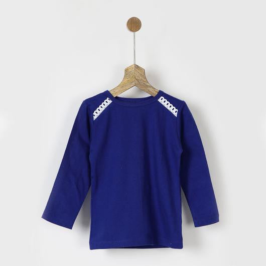 Blue Full Sleeves Tee with Lace Detail