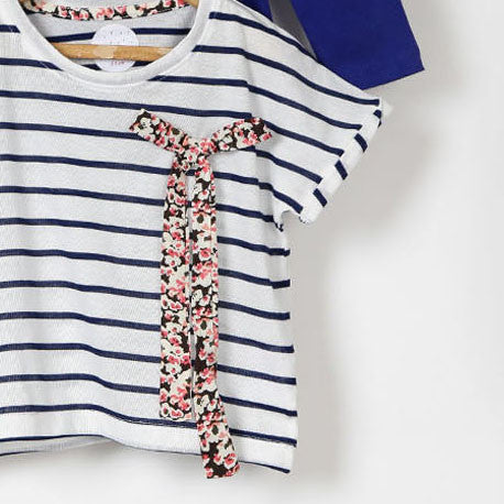 Set of Two Tees - Blue & Striped with Bow