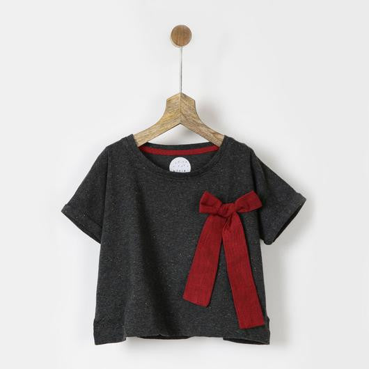 Grey Melange Box Tee with Maroon Bow