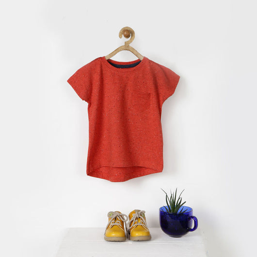 Orange High Low Tee with Patch Pocket